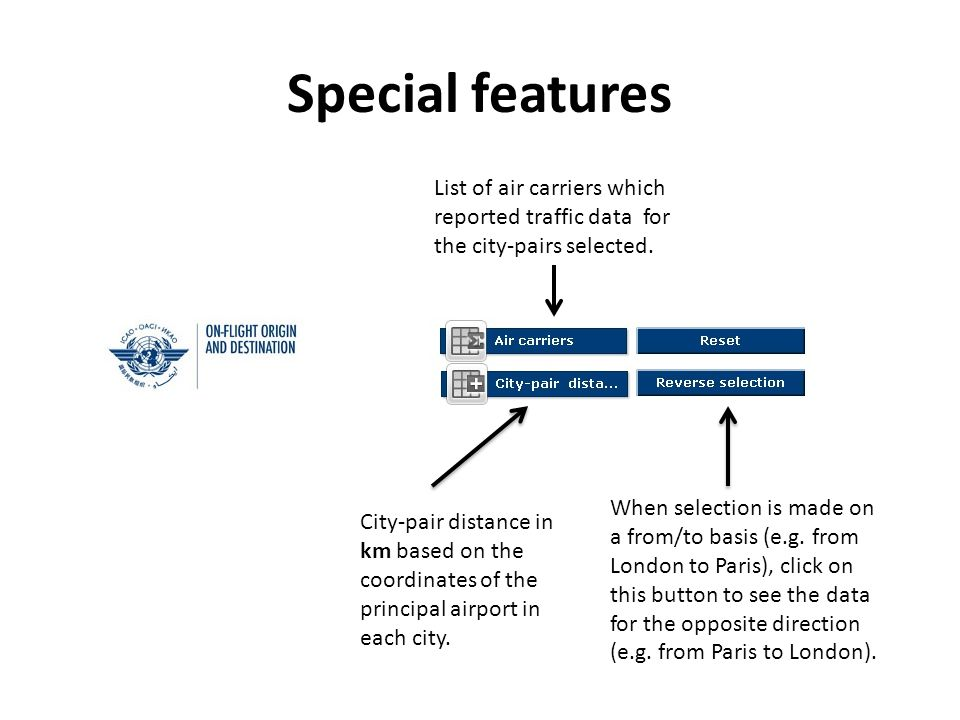 Special features City-pair distance in km based on the coordinates of the principal airport in each city.