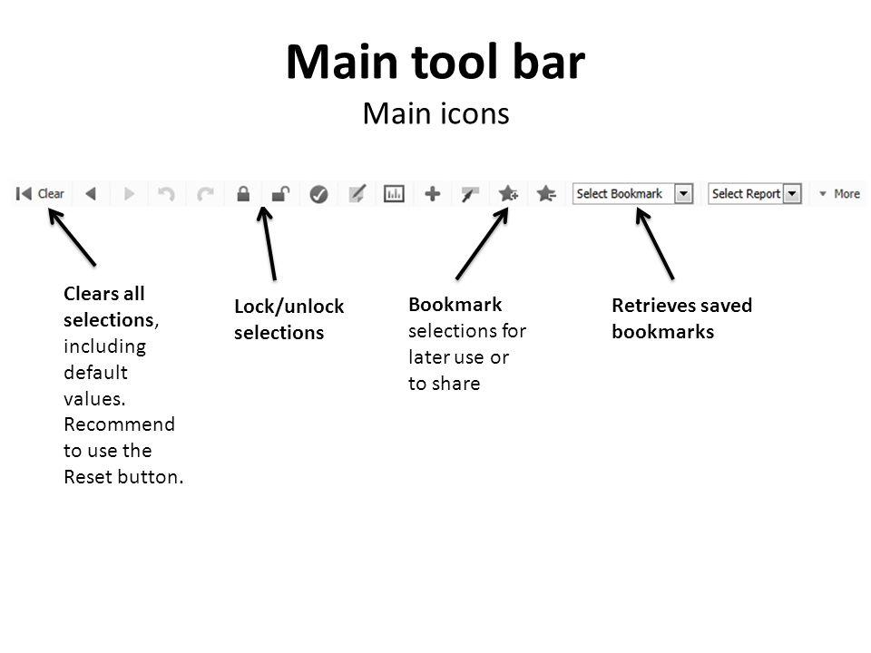 Main tool bar Main icons Clears all selections, including default values.
