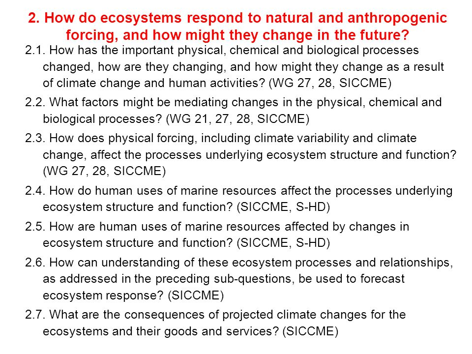 2. How do ecosystems respond to natural and anthropogenic forcing, and how might they change in the future? 2.1. How has the important physical, chemi