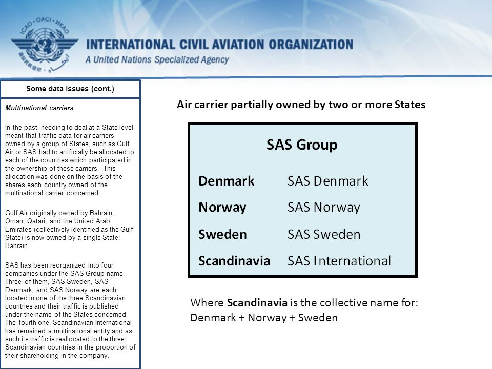 Some data issues (cont.) Multinational carriers In the past, needing to deal at a State level meant that traffic data for air carriers owned by a group of States, such as Gulf Air or SAS had to artificially be allocated to each of the countries which participated in the ownership of these carriers.