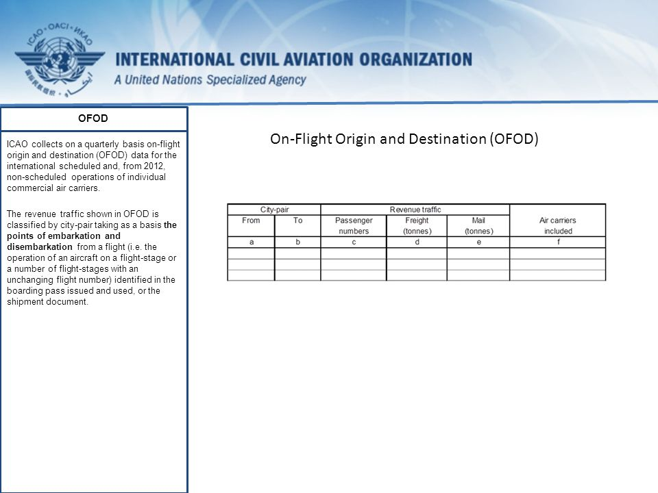 OFOD ICAO collects on a quarterly basis on-flight origin and destination (OFOD) data for the international scheduled and, from 2012, non-scheduled operations of individual commercial air carriers.