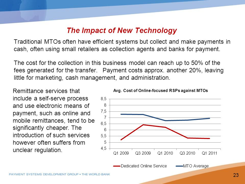The Impact of New Technology Traditional MTOs often have efficient systems but collect and make payments in cash, often using small retailers as collection agents and banks for payment.