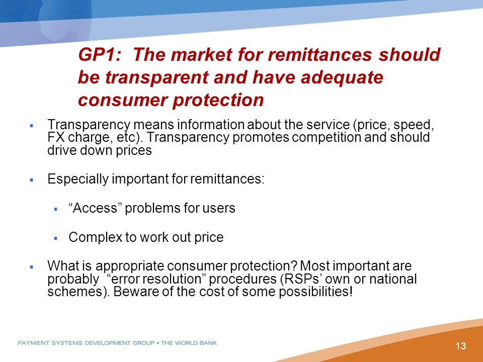  Transparency means information about the service (price, speed, FX charge, etc).
