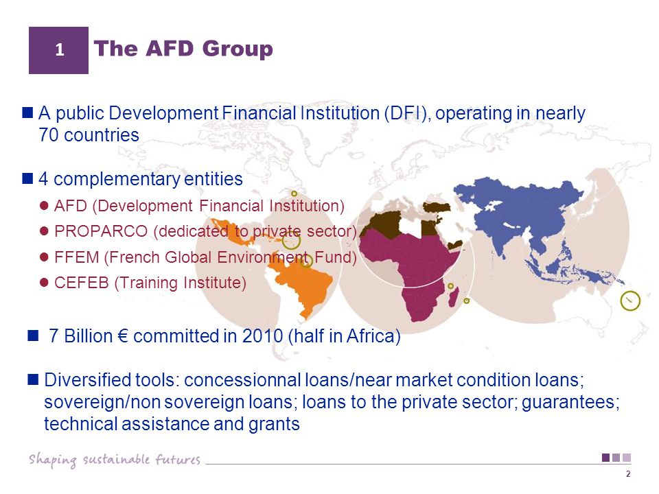 2 The AFD Group 1 A public Development Financial Institution (DFI), operating in nearly 70 countries 4 complementary entities AFD (Development Financi