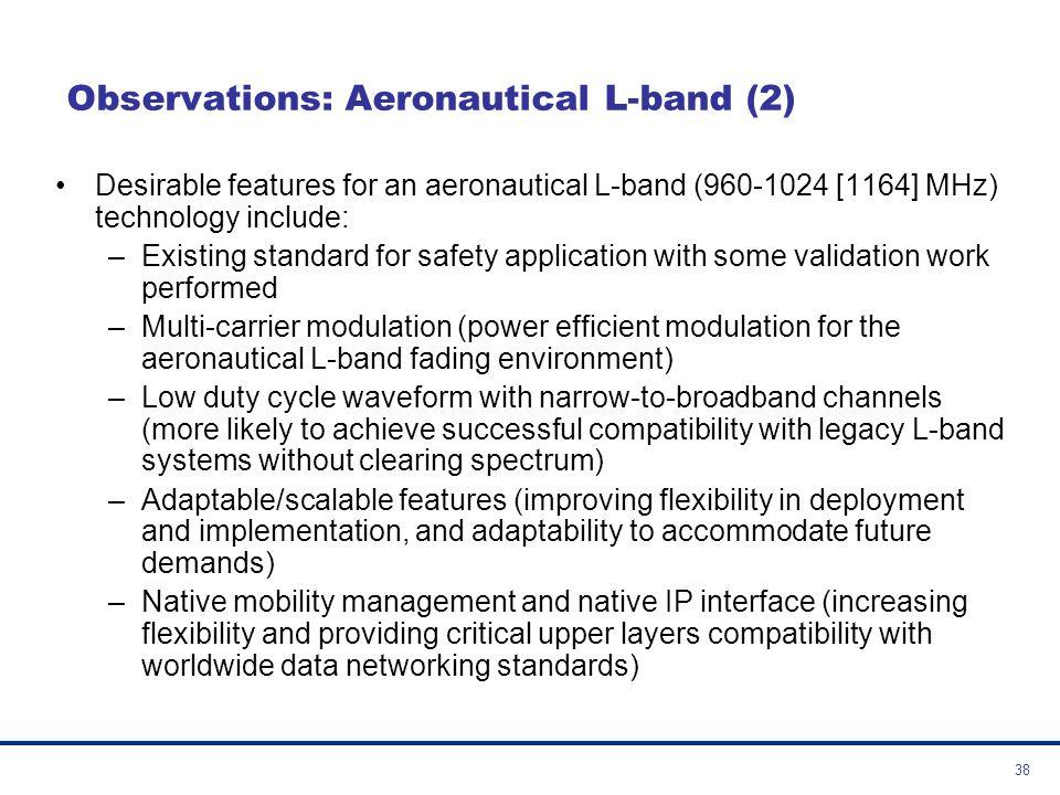 39 Observations: Aeronautical L-band (3) –Two options for a L-band Digital Aeronautical Communication System (L-DACS) were identified L-DACS Options Access SchemeModulation TypeOriginating Technologies Option 1FDDOFDMB-AMC, TIA 902 (P34) Option 2TDDCPFSK/GMSK typeLDL, AMACS