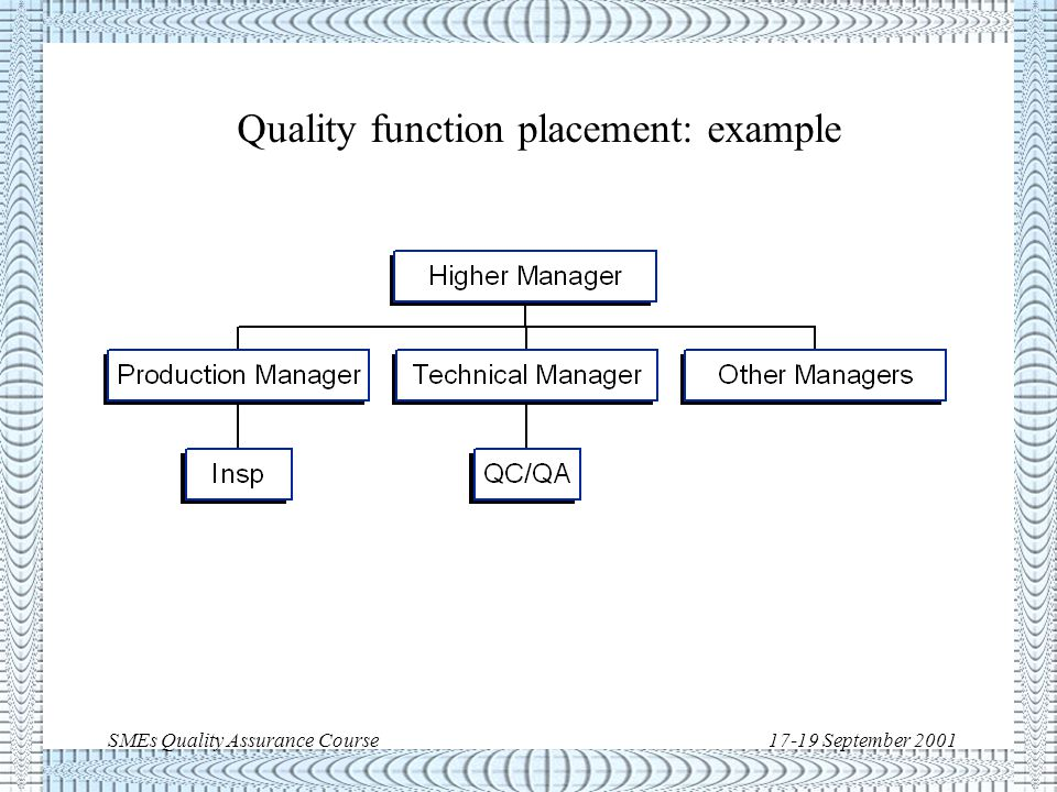 SMEs Quality Assurance Course17-19 September 2001 Quality function placement: example