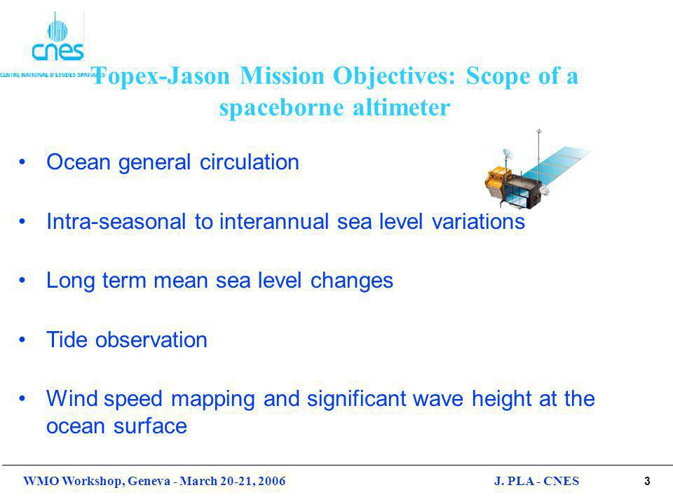 4 WMO Workshop, Geneva - March 20-21, 2006J. PLA - CNES Objectives of a spaceborne altimeter
