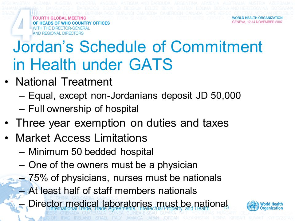 13 International Trade, Trade Agreements, Intellectual Property, and Health Jordan's Schedule of Commitment in Health under GATS National Treatment –Equal, except non-Jordanians deposit JD 50,000 –Full ownership of hospital Three year exemption on duties and taxes Market Access Limitations –Minimum 50 bedded hospital –One of the owners must be a physician –75% of physicians, nurses must be nationals –At least half of staff members nationals –Director medical laboratories must be national