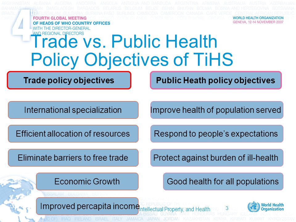 3 International Trade, Trade Agreements, Intellectual Property, and Health Trade vs. Public Health Policy Objectives of TiHS Protect against burden of