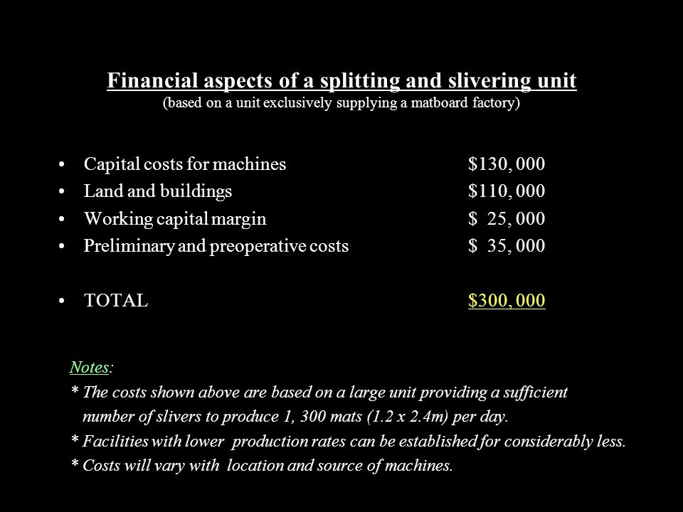 Financial aspects of a splitting and slivering unit (based on a unit exclusively supplying a matboard factory) Capital costs for machines$130, 000 Land and buildings$110, 000 Working capital margin$ 25, 000 Preliminary and preoperative costs$ 35, 000 TOTAL$300, 000 Notes: * The costs shown above are based on a large unit providing a sufficient number of slivers to produce 1, 300 mats (1.2 x 2.4m) per day.