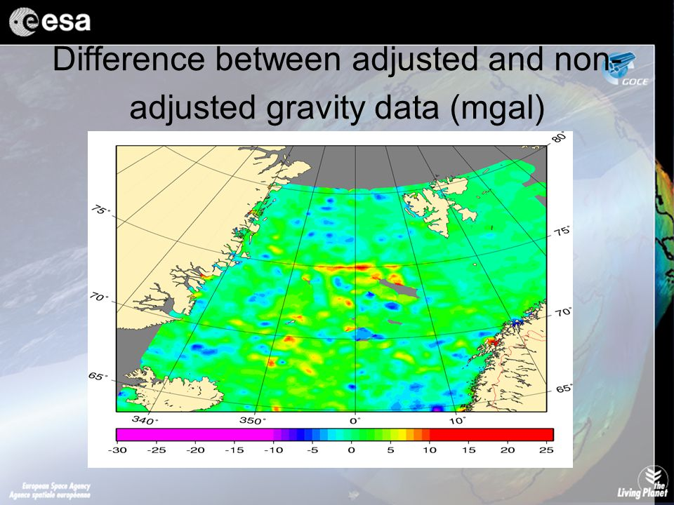 Difference between adjusted and non- adjusted gravity data (mgal)