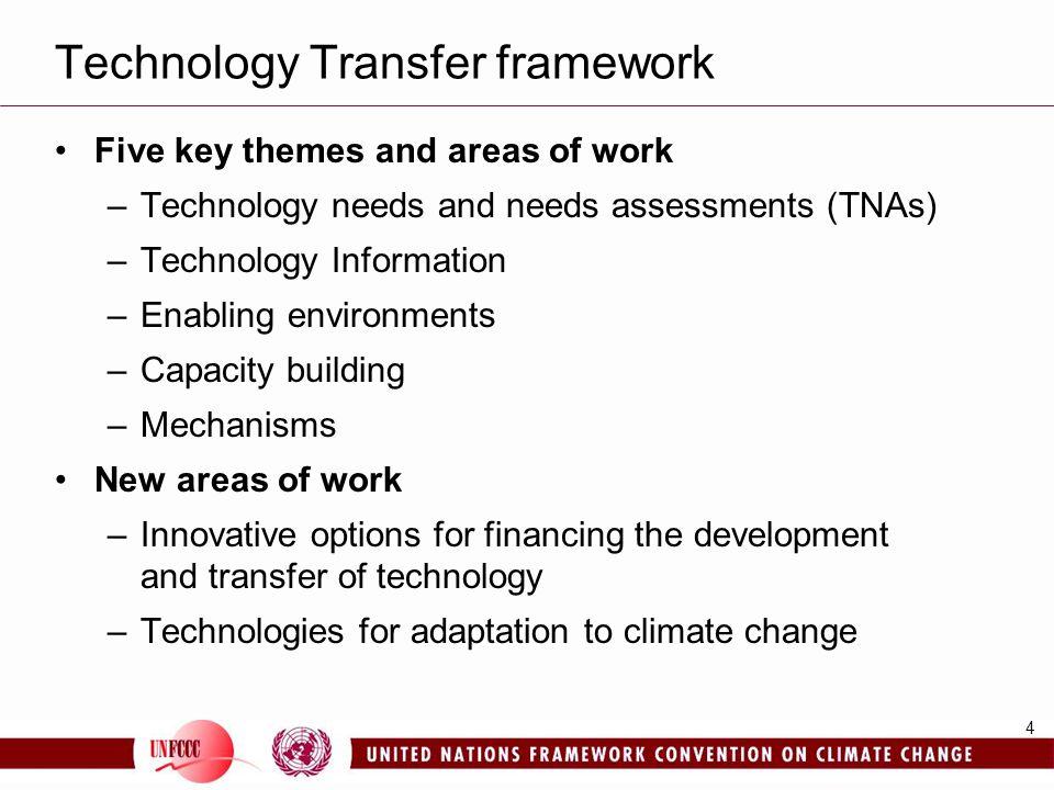 4 Technology Transfer framework Five key themes and areas of work –Technology needs and needs assessments (TNAs) –Technology Information –Enabling env