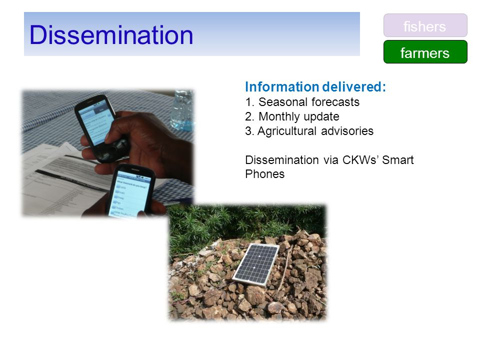 Dissemination Information delivered: 1. Seasonal forecasts 2. Monthly update 3. Agricultural advisories Dissemination via CKWs' Smart Phones farmers f