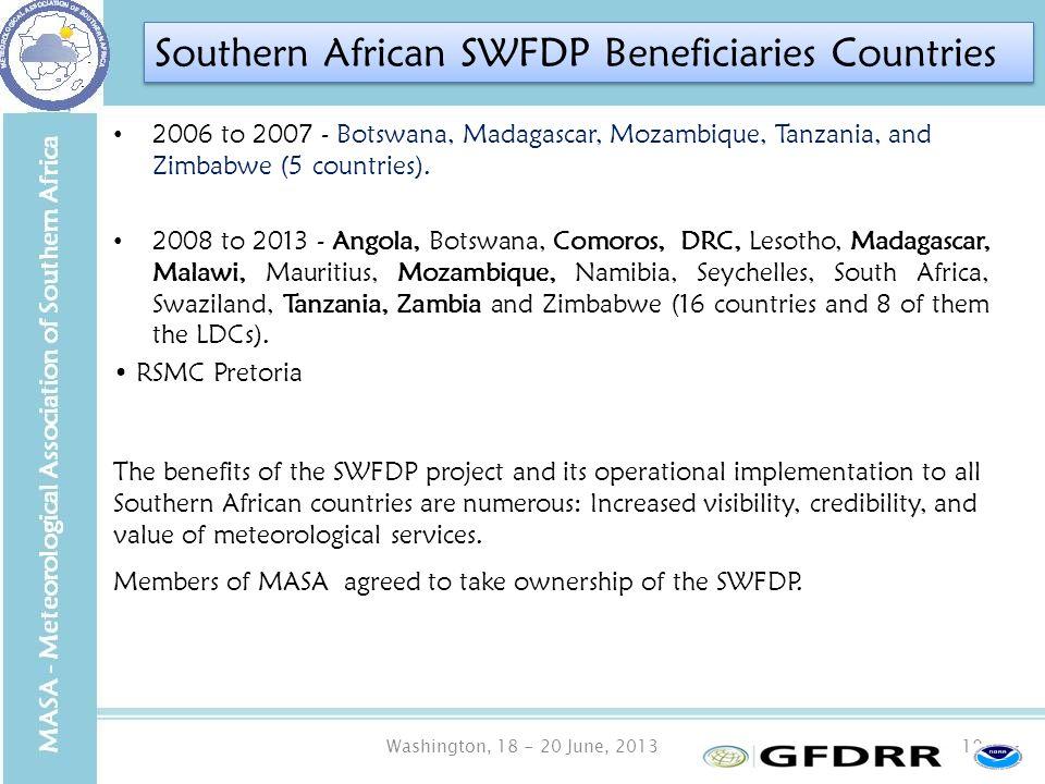 Washington, 18 - 20 June, 201310 2006 to 2007 - Botswana, Madagascar, Mozambique, Tanzania, and Zimbabwe (5 countries).