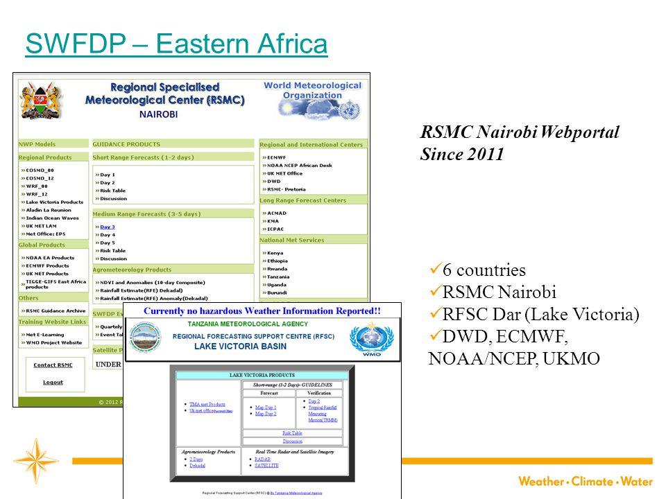 SWFDP – Eastern Africa 6 countries RSMC Nairobi RFSC Dar (Lake Victoria) DWD, ECMWF, NOAA/NCEP, UKMO RSMC Nairobi WebportalSince 2011