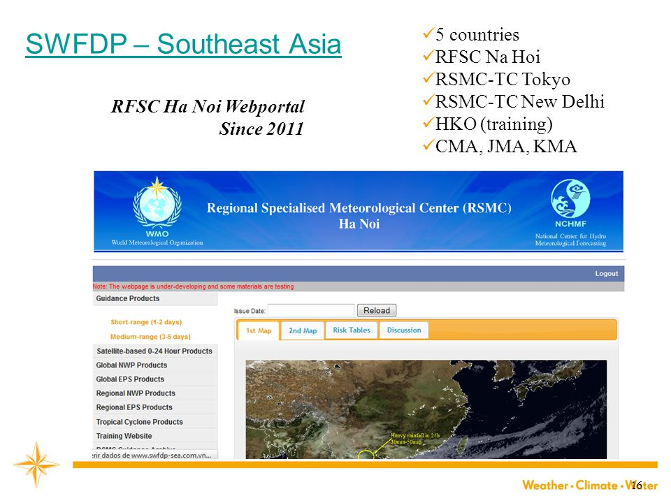 16 RFSC Ha Noi Webportal Since 2011 SWFDP – Southeast Asia 5 countries RFSC Na Hoi RSMC-TC Tokyo RSMC-TC New Delhi HKO (training) CMA, JMA, KMA