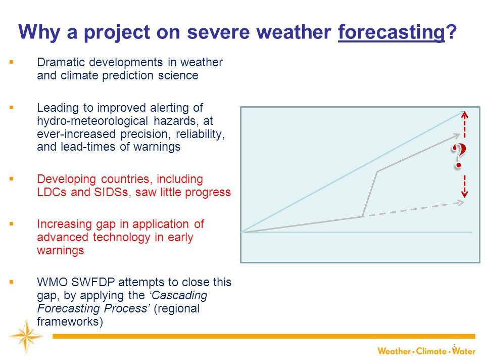 Vision for improving severe weather forecasting and warning services in developing countries NMHSs in developing countries are able to implement and maintain reliable and effective routine forecasting and severe weather warning programmes through enhanced use of NWP products and delivery of timely and authoritative forecasts and early warnings, thereby contributing to reducing the risk of disasters from natural hazards. (World Meteorological Congress, 2007 and 2011) Implemented through the Severe Weather Forecasting Demonstration Project (SWFDP) that applies the 'Cascading Forecasting Process'