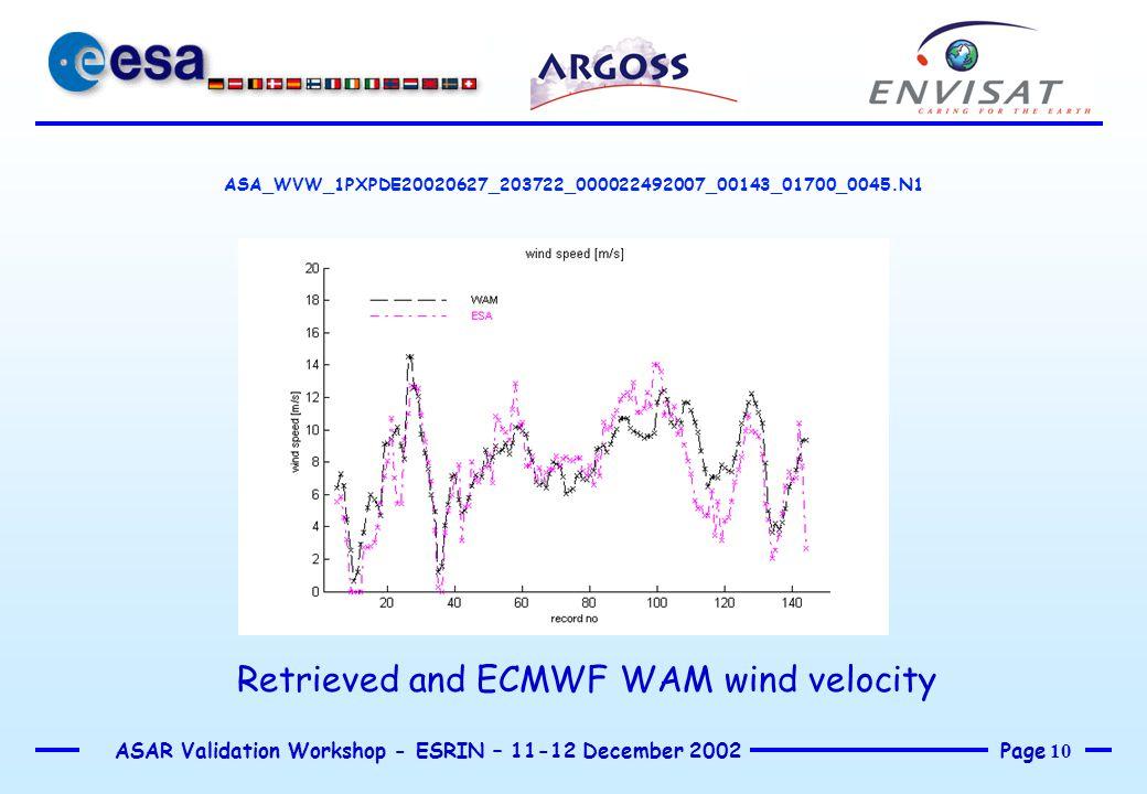Page 10 ASAR Validation Workshop - ESRIN – 11-12 December 2002 ASA_WVW_1PXPDE20020627_203722_000022492007_00143_01700_0045.N1 Retrieved and ECMWF WAM
