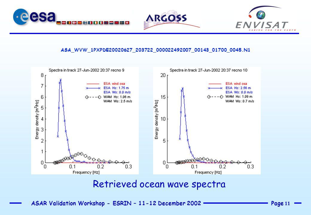 Page 11 ASAR Validation Workshop - ESRIN – 11-12 December 2002 ASA_WVW_1PXPDE20020627_203722_000022492007_00143_01700_0045.N1 Retrieved ocean wave spe