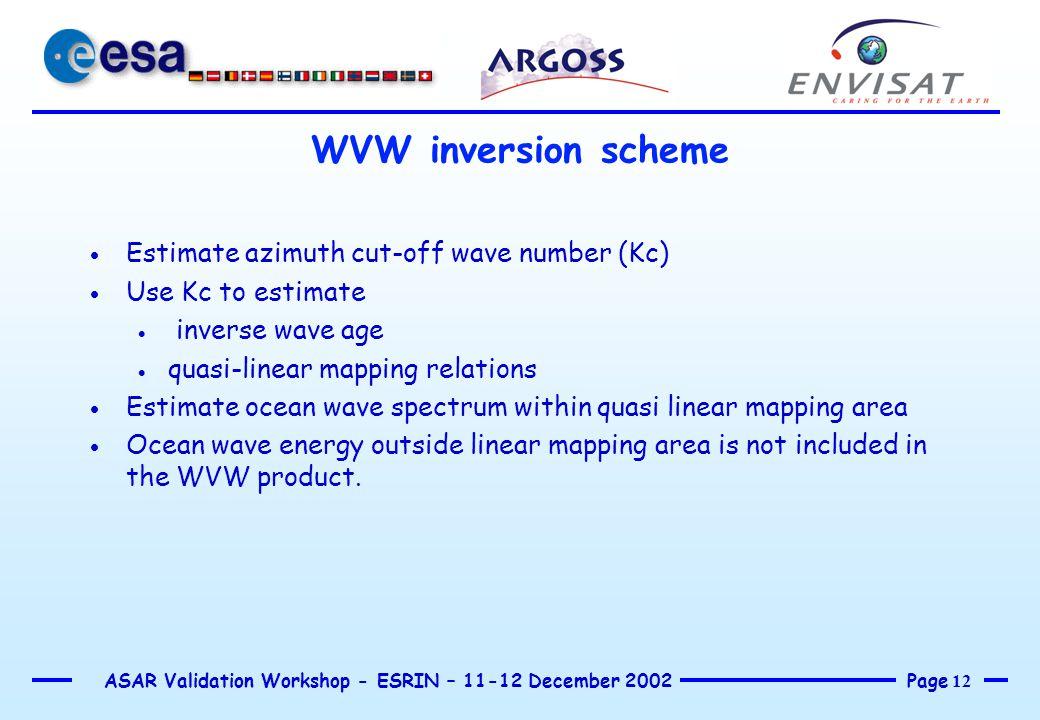 Page 12 ASAR Validation Workshop - ESRIN – 11-12 December 2002 WVW inversion scheme  Estimate azimuth cut-off wave number (Kc)  Use Kc to estimate 