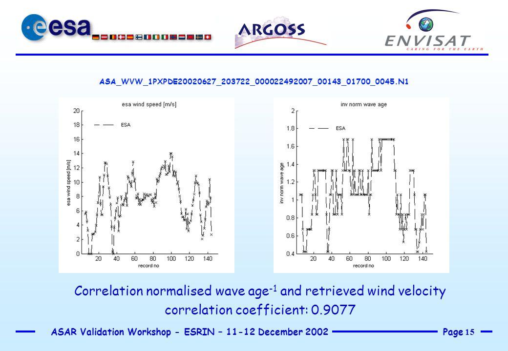 Page 15 ASAR Validation Workshop - ESRIN – 11-12 December 2002 ASA_WVW_1PXPDE20020627_203722_000022492007_00143_01700_0045.N1 Correlation normalised w