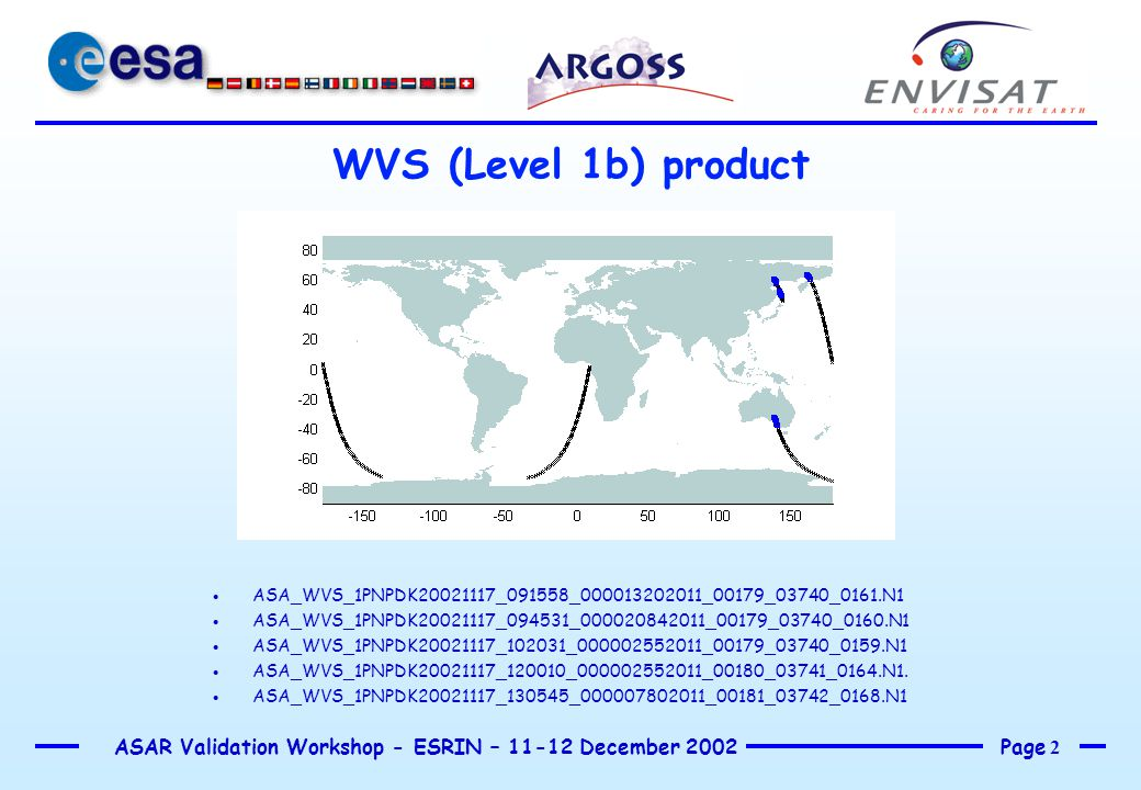 Page 2 ASAR Validation Workshop - ESRIN – 11-12 December 2002 WVS (Level 1b) product  ASA_WVS_1PNPDK20021117_091558_000013202011_00179_03740_0161.N1  ASA_WVS_1PNPDK20021117_094531_000020842011_00179_03740_0160.N1  ASA_WVS_1PNPDK20021117_102031_000002552011_00179_03740_0159.N1  ASA_WVS_1PNPDK20021117_120010_000002552011_00180_03741_0164.N1.