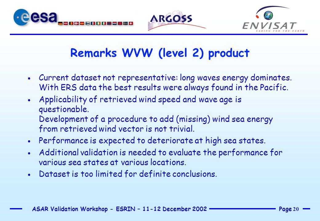 Page 20 ASAR Validation Workshop - ESRIN – 11-12 December 2002 Remarks WVW (level 2) product  Current dataset not representative: long waves energy d