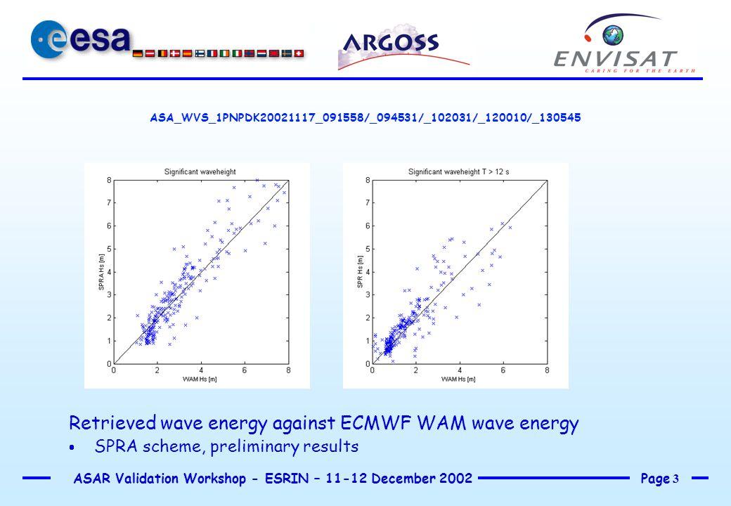 Page 4 ASAR Validation Workshop - ESRIN – 11-12 December 2002 ASA_WVS_1PNPDK20021117_091558/094531/102031/120010/130545 Retrieved wave energy against ECMWF WAM wave energy  SPRA scheme, preliminary results