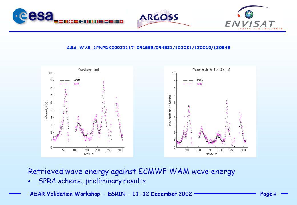 Page 4 ASAR Validation Workshop - ESRIN – 11-12 December 2002 ASA_WVS_1PNPDK20021117_091558/094531/102031/120010/130545 Retrieved wave energy against