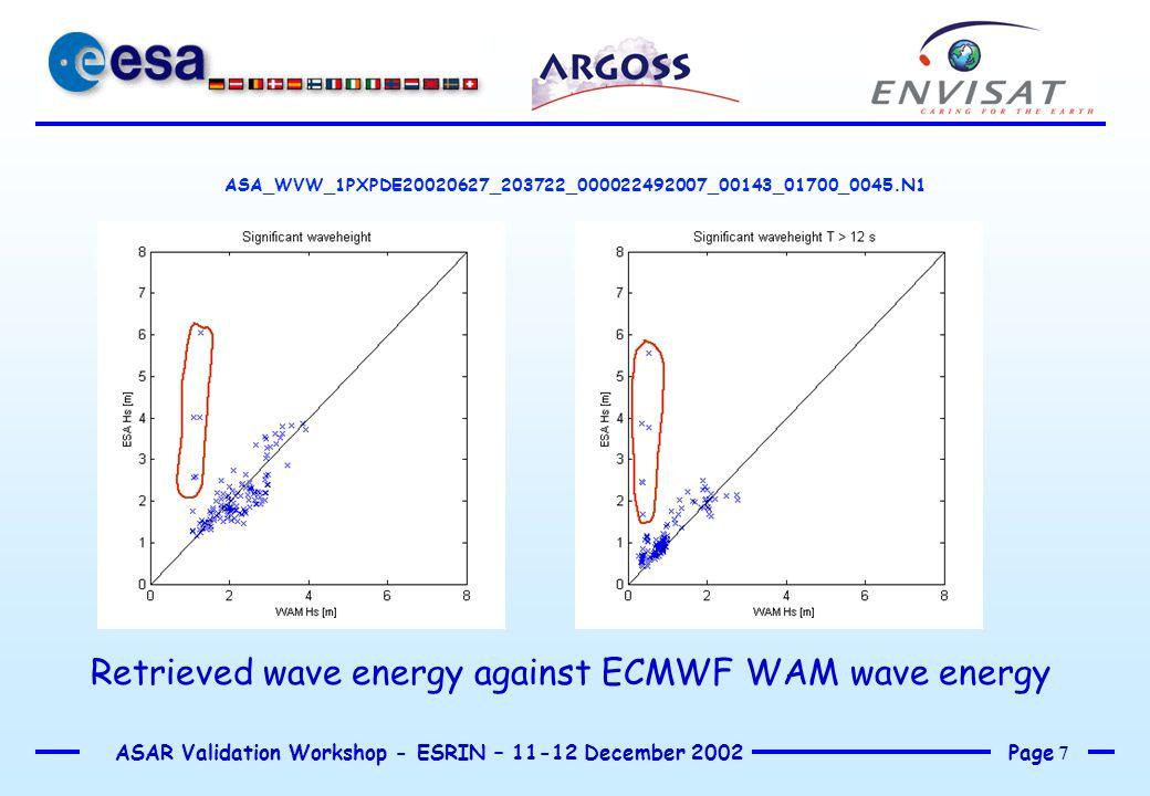 Page 8 ASAR Validation Workshop - ESRIN – 11-12 December 2002 ASA_WVW_1PXPDE20020627_203722_000022492007_00143_01700_0045.N1 Retrieved wave energy against ECMWF WAM wave energy