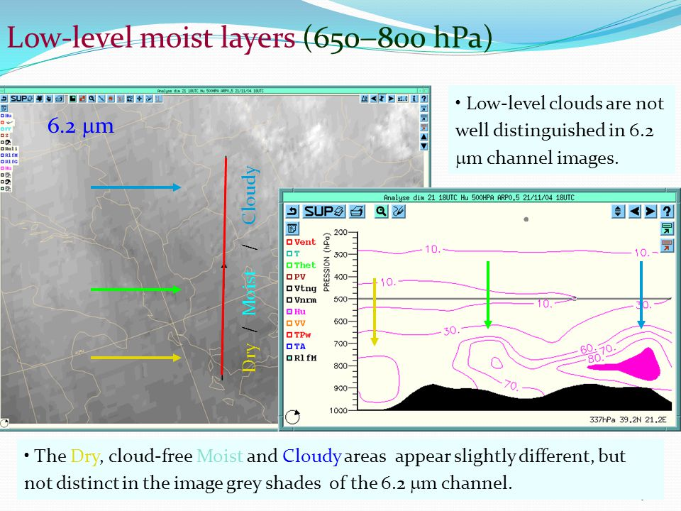 ESAC TRAINING19 Low-level moist layers (650  800 hPa) Low-level clouds are not well distinguished in 6.2  m channel images.