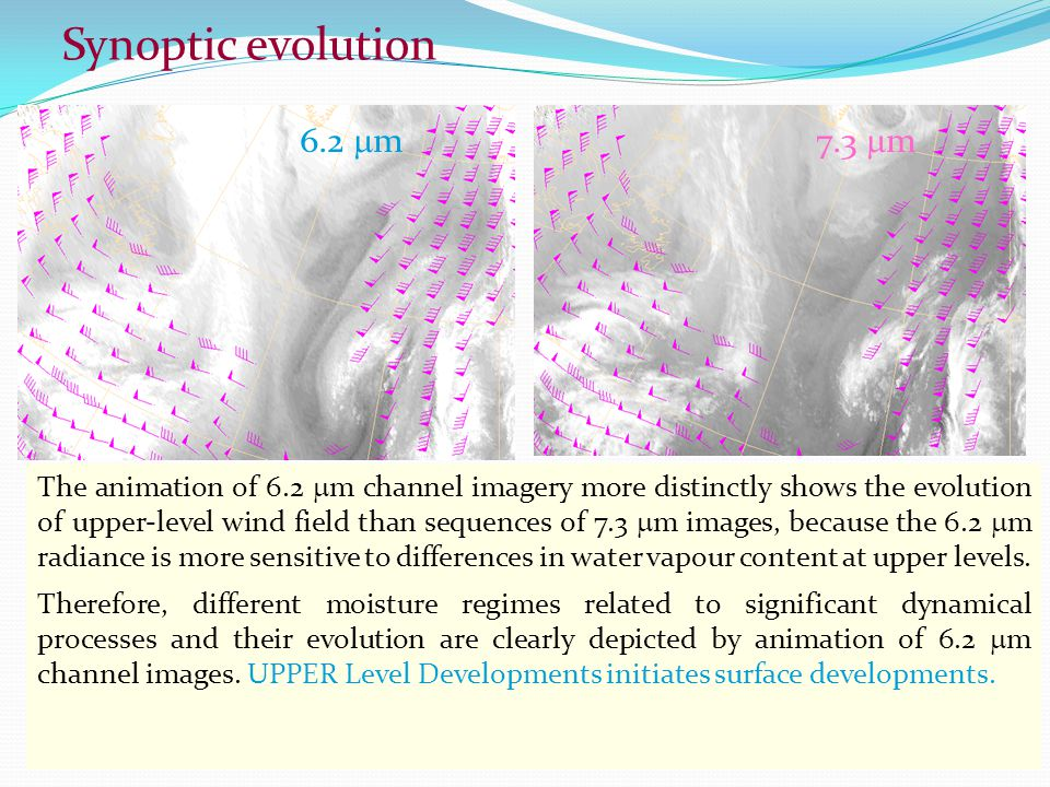 Synoptic evolution 6.2 m6.2 m7.3 m7.3 m The animation of 6.2  m channel imagery more distinctly shows the evolution of upper-level wind field than sequences of 7.3  m images, because the 6.2  m radiance is more sensitive to differences in water vapour content at upper levels.
