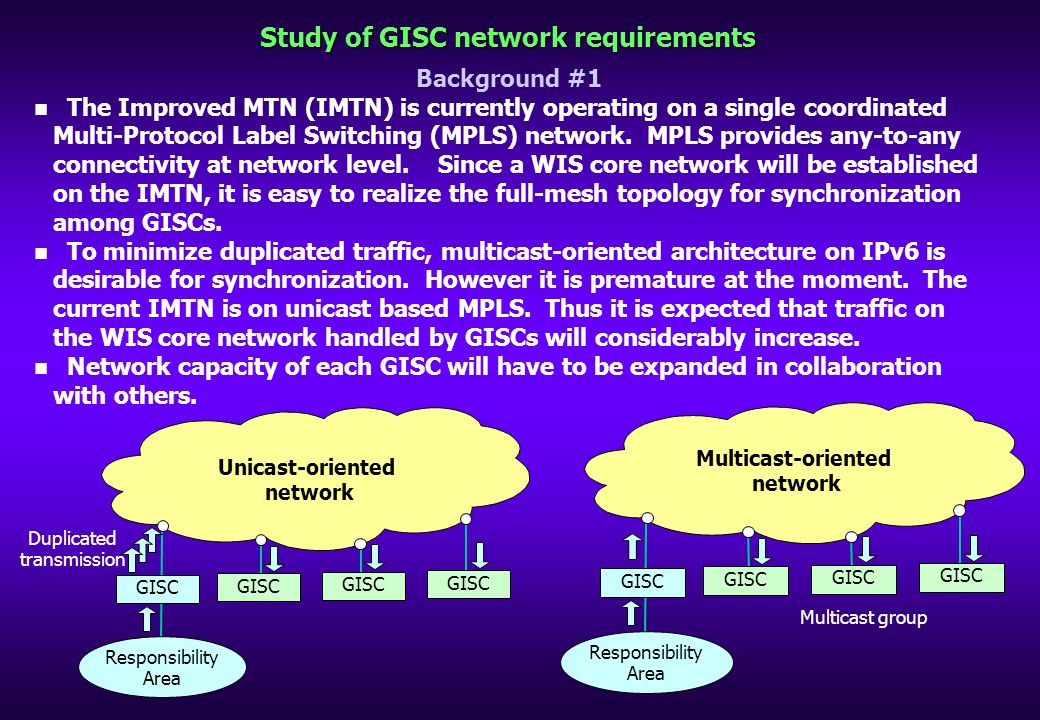 Study of GISC network requirements Background #1 The Improved MTN (IMTN) is currently operating on a single coordinated Multi-Protocol Label Switching (MPLS) network.