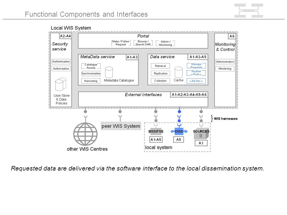 Requested data are delivered via the software interface to the local dissemination system.