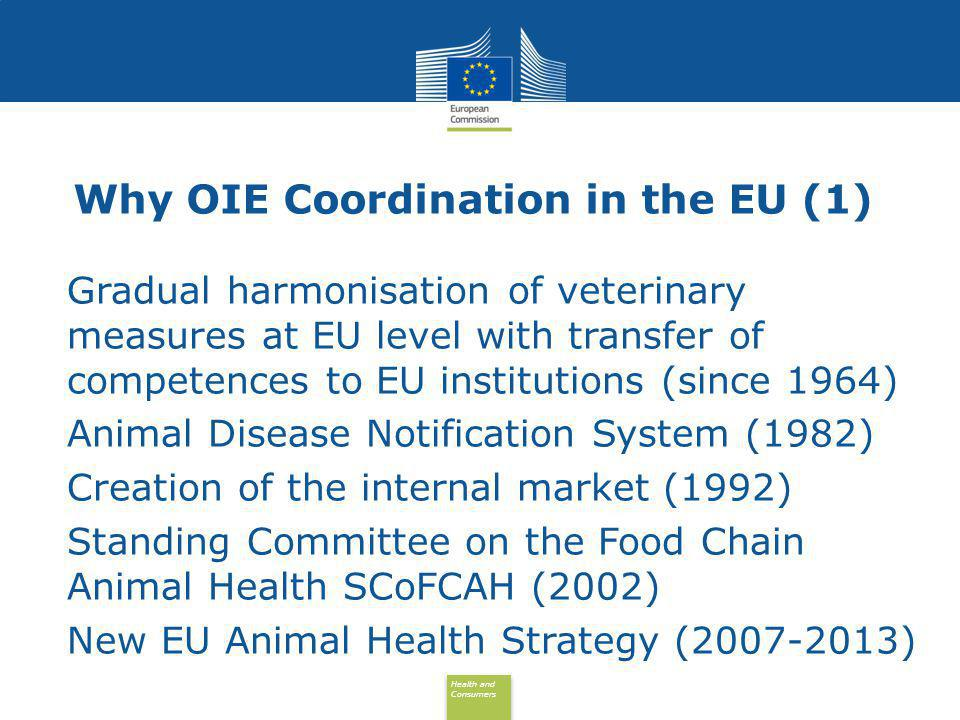 Health and Consumers Health and Consumers Why OIE Coordination in the EU (2) Importance of International Standards for EU: Harmonised EU legislation in the veterinary field (animal health; animal welfare; veterinary public health) Relevant for intra-EU trade (internal market) Relevant for import and export policies Growing global trade and possible disputes