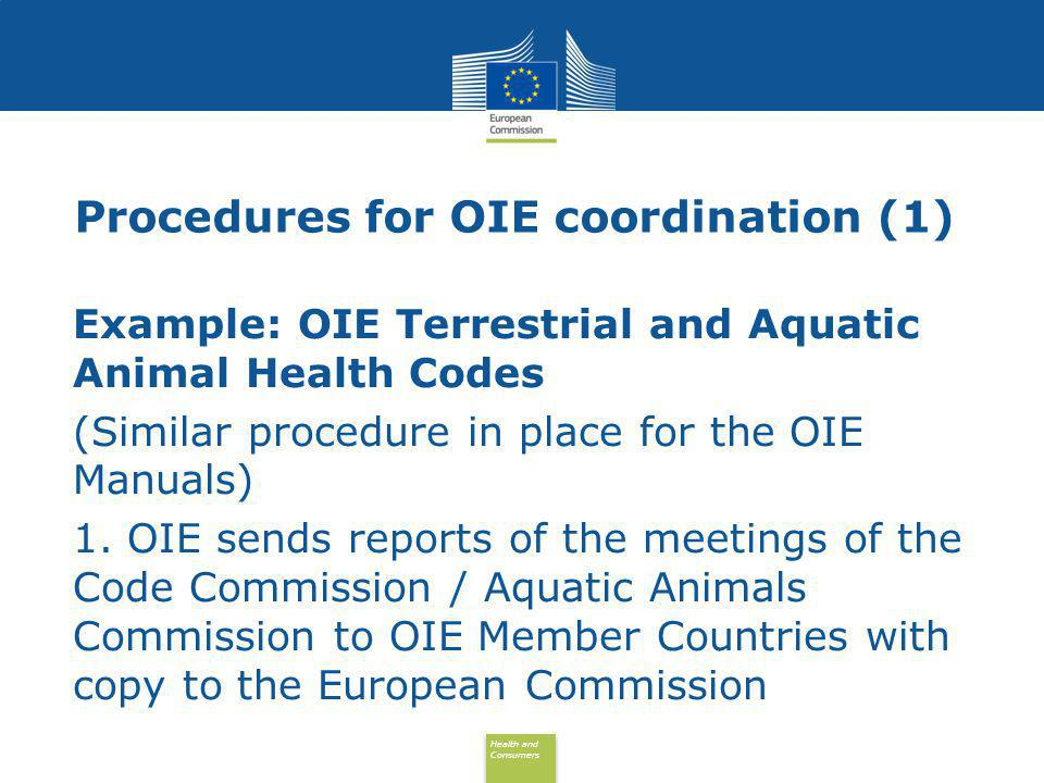 Health and Consumers Health and Consumers Procedures for OIE coordination (2) 2.