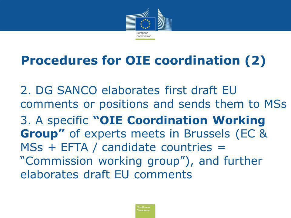 Health and Consumers Health and Consumers Procedures for OIE coordination (3) 4.