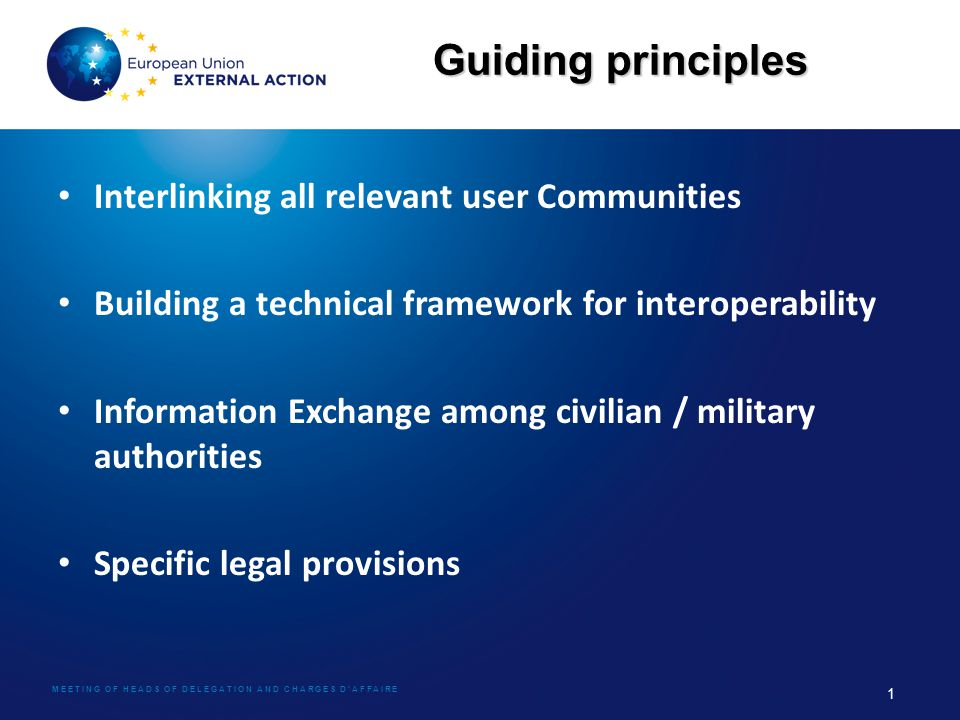 MEETING OF HEADS OF DELEGATION AND CHARGES D'AFFAIRE 1 Guiding principles Interlinking all relevant user Communities Building a technical framework fo