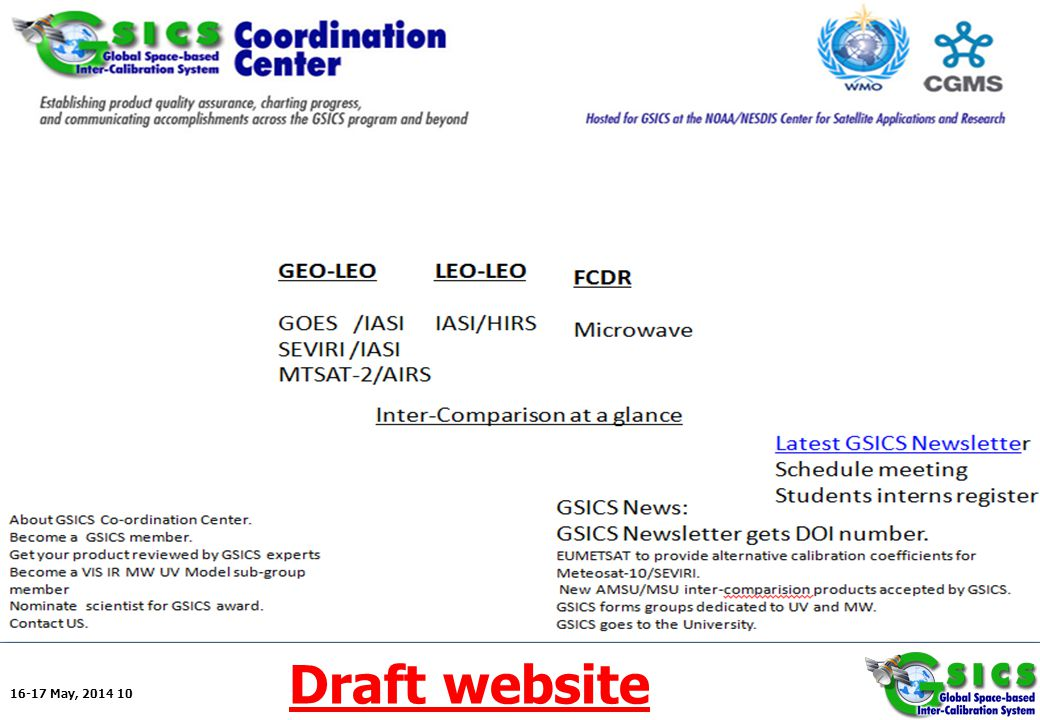 16-17 May, 2014 10 Backup for Action items as a topic Draft website