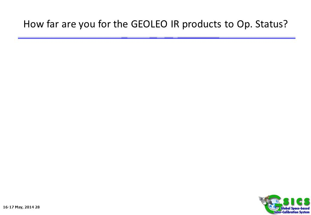 16-17 May, 2014 28 How far are you for the GEOLEO IR products to Op. Status?