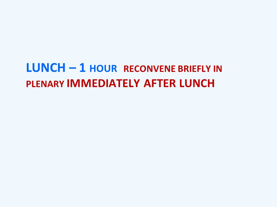 LUNCH – 1 HOUR RECONVENE BRIEFLY IN PLENARY IMMEDIATELY AFTER LUNCH