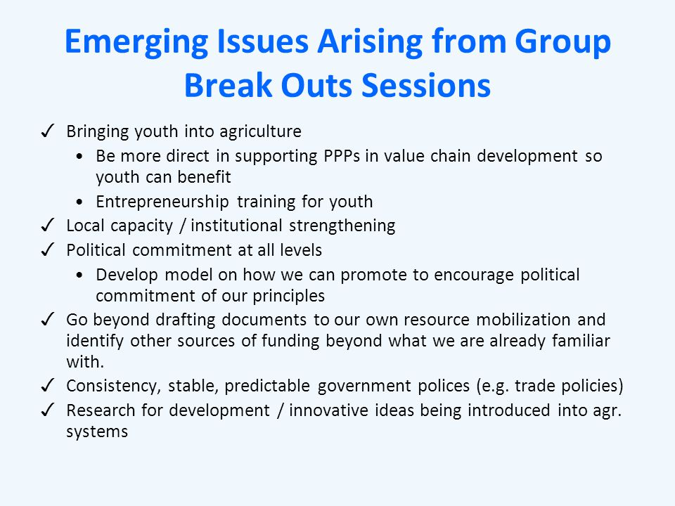 Emerging Issues Arising from Group Break Outs Sessions ✓ Bringing youth into agriculture Be more direct in supporting PPPs in value chain development so youth can benefit Entrepreneurship training for youth ✓ Local capacity / institutional strengthening ✓ Political commitment at all levels Develop model on how we can promote to encourage political commitment of our principles ✓ Go beyond drafting documents to our own resource mobilization and identify other sources of funding beyond what we are already familiar with.