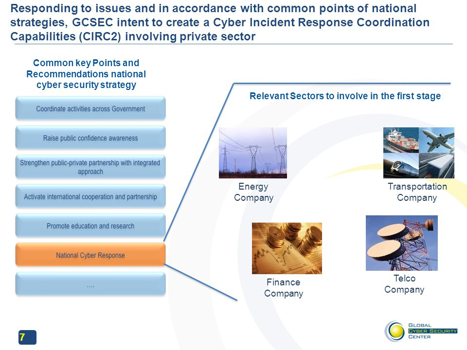 7 Responding to issues and in accordance with common points of national strategies, GCSEC intent to create a Cyber Incident Response Coordination Capabilities (CIRC2) involving private sector Common key Points and Recommendations national cyber security strategy Relevant Sectors to involve in the first stage Energy Company Transportation Company Finance Company Telco Company