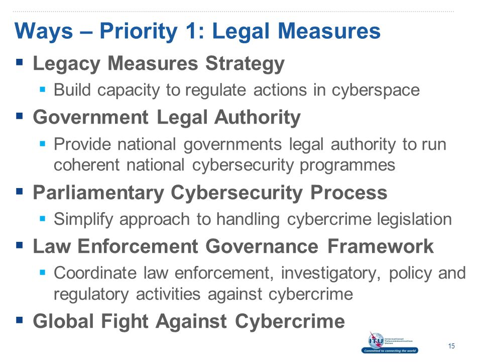 Ways – Priority 1: Legal Measures  Legacy Measures Strategy  Build capacity to regulate actions in cyberspace  Government Legal Authority  Provide national governments legal authority to run coherent national cybersecurity programmes  Parliamentary Cybersecurity Process  Simplify approach to handling cybercrime legislation  Law Enforcement Governance Framework  Coordinate law enforcement, investigatory, policy and regulatory activities against cybercrime  Global Fight Against Cybercrime 15