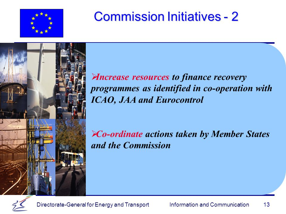 Directorate-General for Energy and Transport Information and Communication Commission Initiatives   Increase resources to finance recovery programmes as identified in co-operation with ICAO, JAA and Eurocontrol   Co-ordinate actions taken by Member States and the Commission