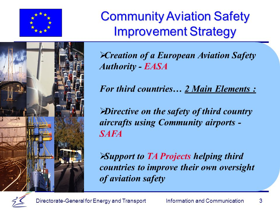 Directorate-General for Energy and Transport Information and Communication Community Aviation Safety Improvement Strategy 3   Creation of a European Aviation Safety Authority - EASA For third countries… 2 Main Elements :   Directive on the safety of third country aircrafts using Community airports - SAFA   Support to TA Projects helping third countries to improve their own oversight of aviation safety