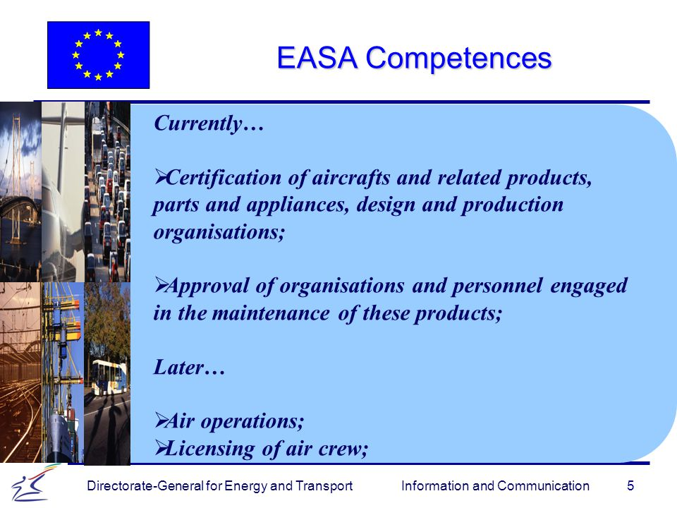 5 Directorate-General for Energy and Transport Information and Communication EASA Competences Currently…   Certification of aircrafts and related products, parts and appliances, design and production organisations;   Approval of organisations and personnel engaged in the maintenance of these products; Later…   Air operations;   Licensing of air crew;