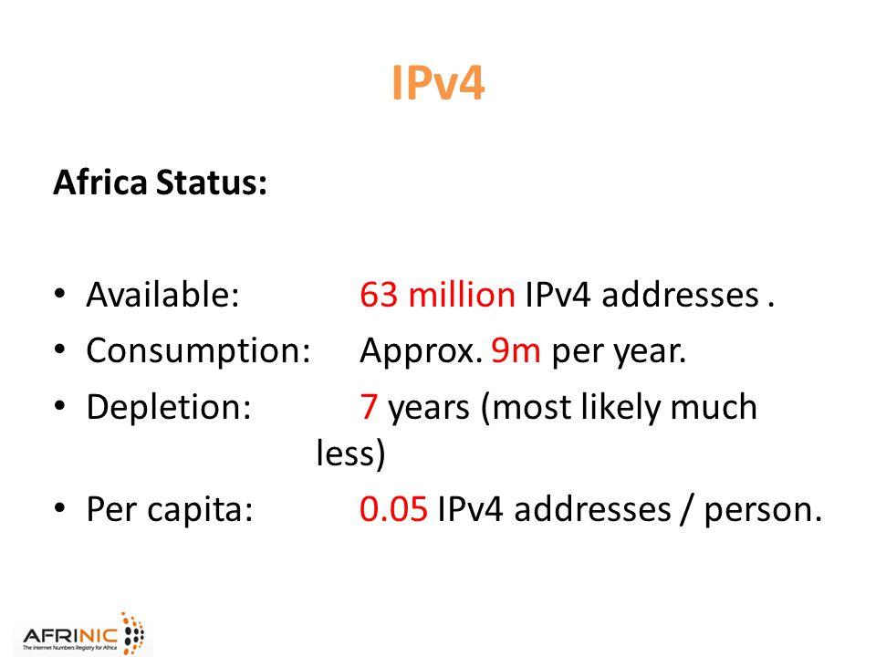 IPv4 Africa Status: Available: 63 million IPv4 addresses.