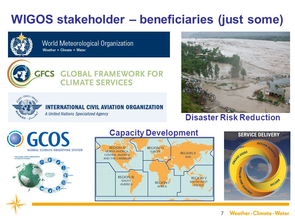 7 WIGOS stakeholder – beneficiaries (just some) Disaster Risk Reduction Capacity Development