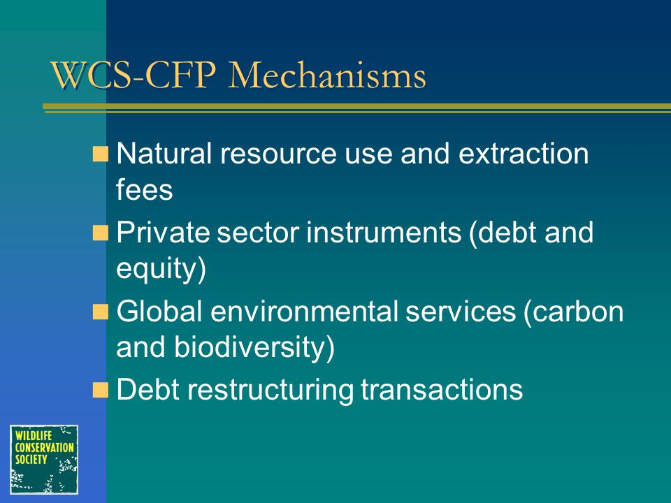 WCS-CFP Mechanisms Natural resource use and extraction fees Private sector instruments (debt and equity) Global environmental services (carbon and bio